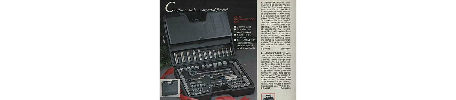 Mechanic tool set in the 1989 Sears Wish Book