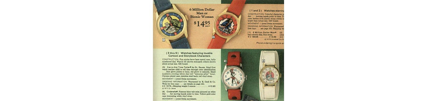 Character watches in 1977 Sears Wish Book