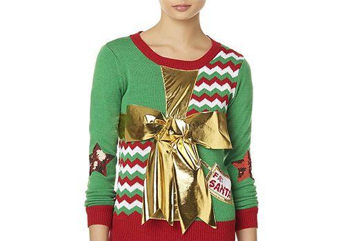 Juniors' Bongo Christmas Bow Sweater