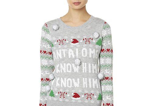 Juniors' Bongo Santa Christmas Sweater