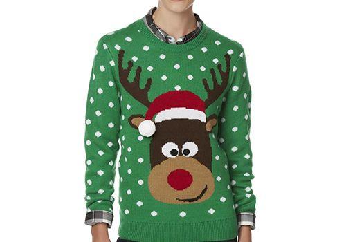 Laura Scott Women's Red-Nosed Reindeer Christmas Sweater