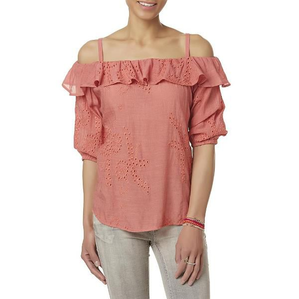 Simply Styled Embroidered Cold Shoulder Top