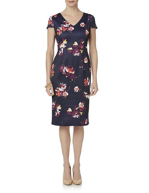 Woman in a Jaclyn Smith Floral Midi Sheath Dress