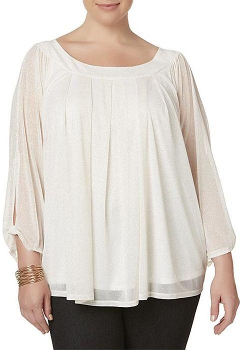 Women in plus-size pleated blouse