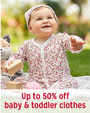 Up to 50% off baby & toddler clothes
