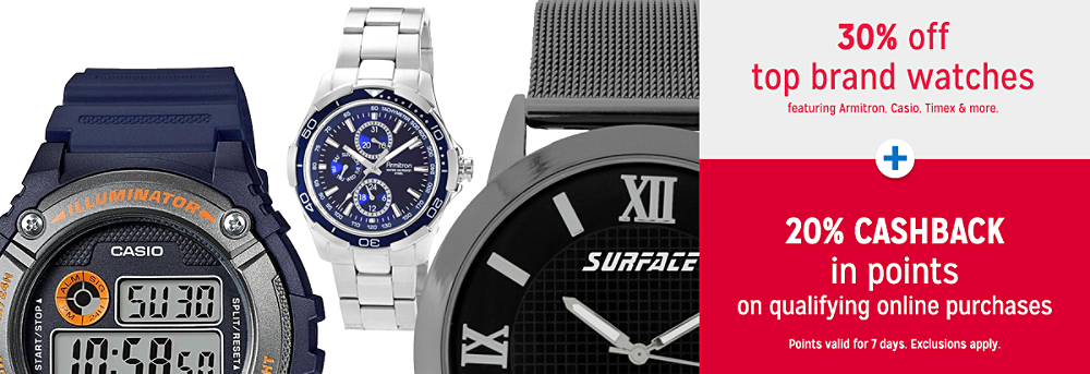 30% off top brand watches plus Get 20% CASHBACK in points on qualifying online purchases