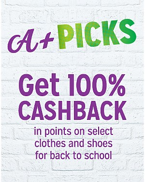 Get 100% CASHBACK in points on select clothes and shoes for back to school