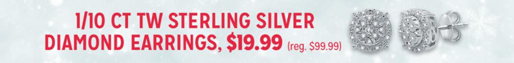 1/10 ct tw sterling silver diamond earrings, $19.99
