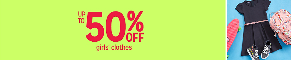 Up to 50% off girls' clothes