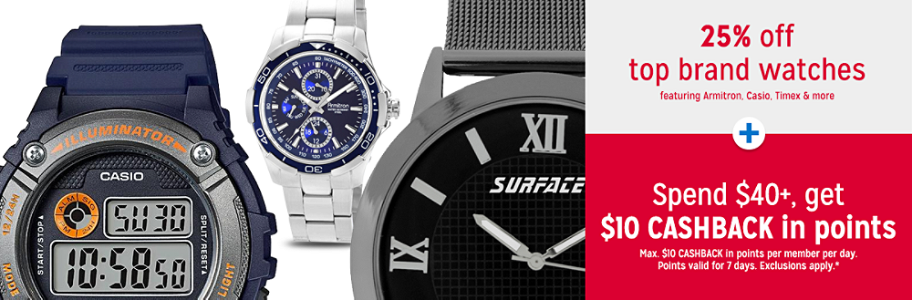 Semi-Annual Fine Jewelry & Watches Sale 30% off top brand watches featuring Armitron, Casio, Timex & more + Spend $40+, get $10 CASHBACK in points
