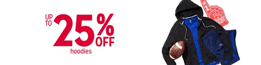 Up to 25% off hoodies