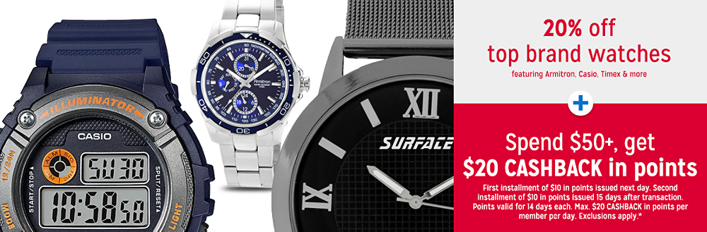 Semi-Annual Fine Jewelry & Watches Sale 30% off top brand watches featuring Armitron, Casio, Timex & more + Spend $50+, get $20 CASHBACK in points