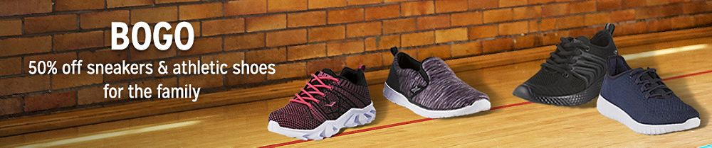 BOGO 50% off sneakers & athletic shoes for the family