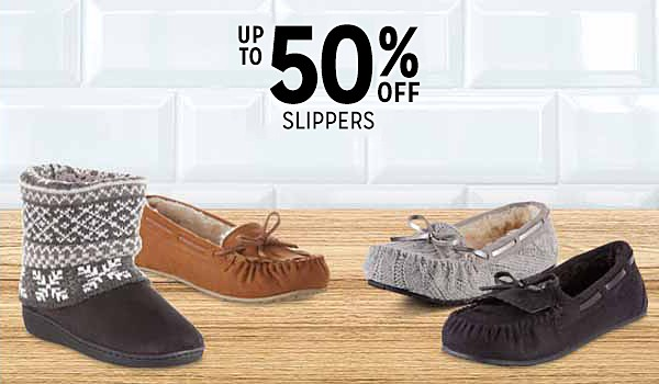 Up to 50% off women's slippers