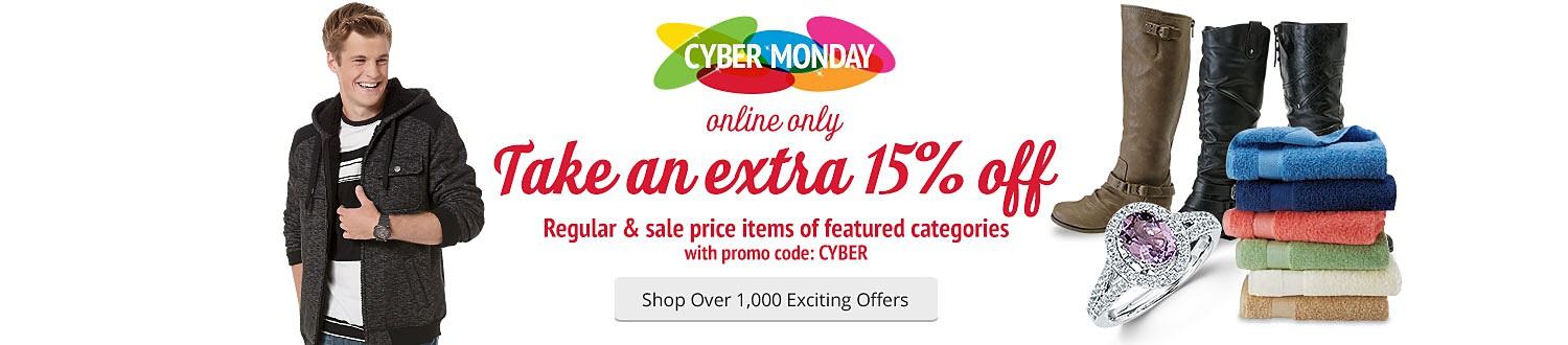 Take extra 15% off reg and sale price items of featured categories with promo code: CYBER