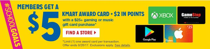 Members get a $5 Kmart award card and $2 in points with $25+ gaming or music gift card purchase