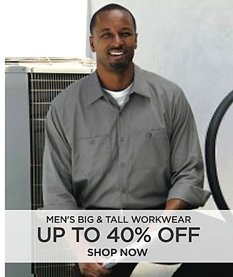 Up to 40% off on Men's Big & Tall Workwear