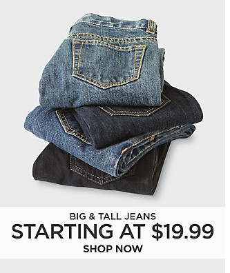 Big & Tall Jeans starting at $19.99