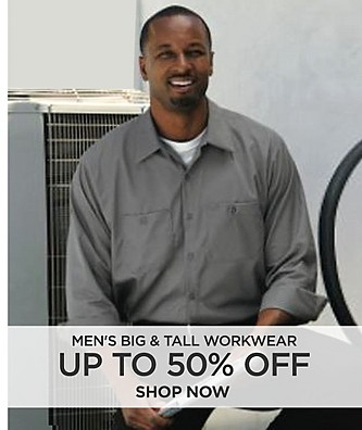 Up to 50% off on Men's Big & Tall Workwear