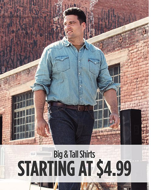 Big & Tall Shirts Starting at $4.99