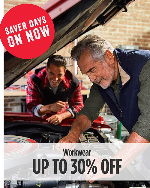Saver Days On Now! Up to 30% Off Men's Workwear