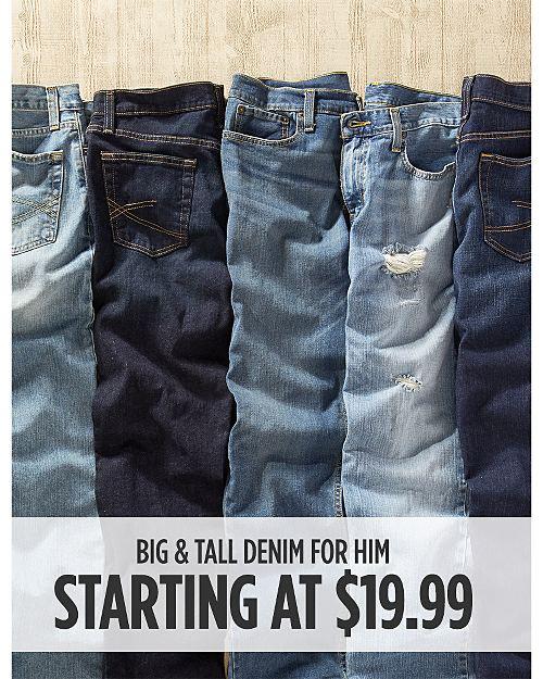 Big & Tall Denim starting at $19.99. Shop now