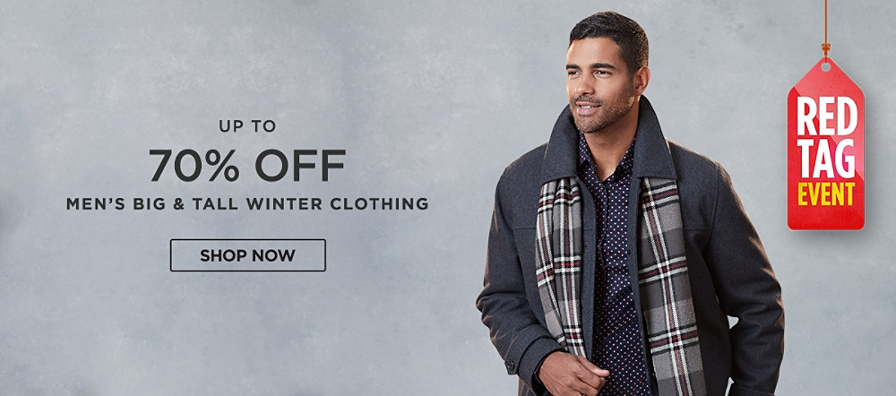 Up to 70% off Men's Big & Tall Winter Clothing. Shop now