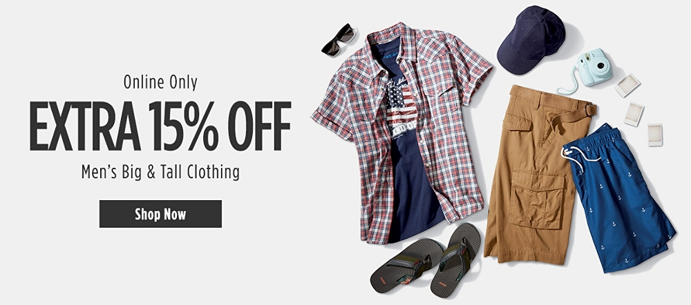 Online Only! Extra 15% off Men's Big & Tall Clothing