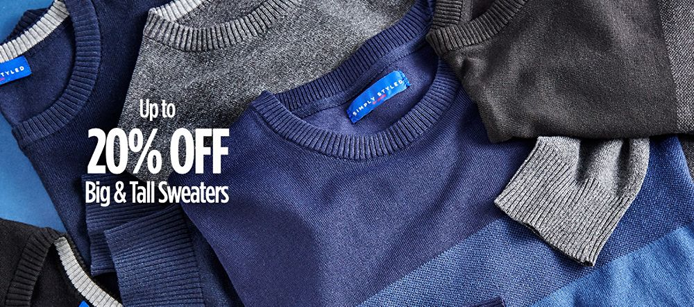 Up to 20% Off Big & Tall Sweaters