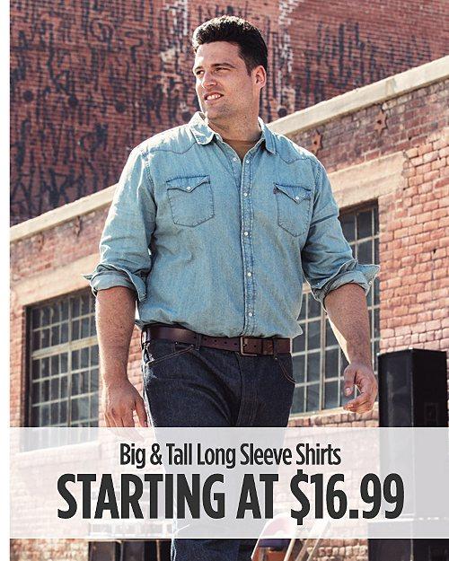 Big & Tall Long Sleeve Shirts Starting at $16.99