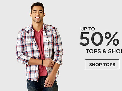 Up to 50% off Tops & Shorts for him. Shop Tops.