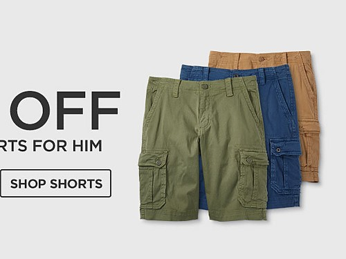 Up to 50% off Tops & Shorts for him. Shop Shorts.