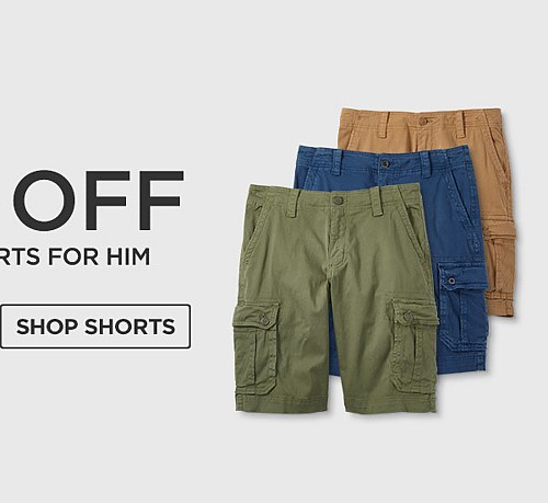 Up to 50% off Tops & Shorts for him