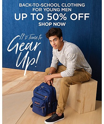 Up to 50% off Back to School Clothing for Young Men