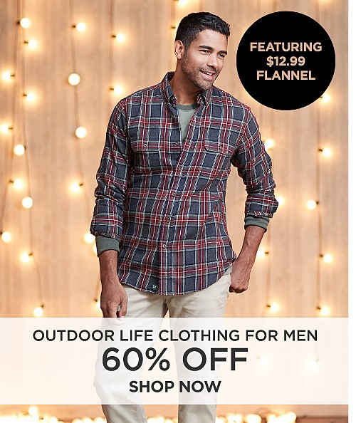 60% off Outdoor Life clothing for men | Featuring $12.99 Flannel. Shop now