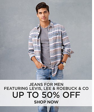 Up to 50% off jeans for men featuring Levis, Lee & Roebuck & Co. Shop Now