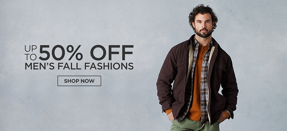 Up to 50% off Men's Fall Fashions