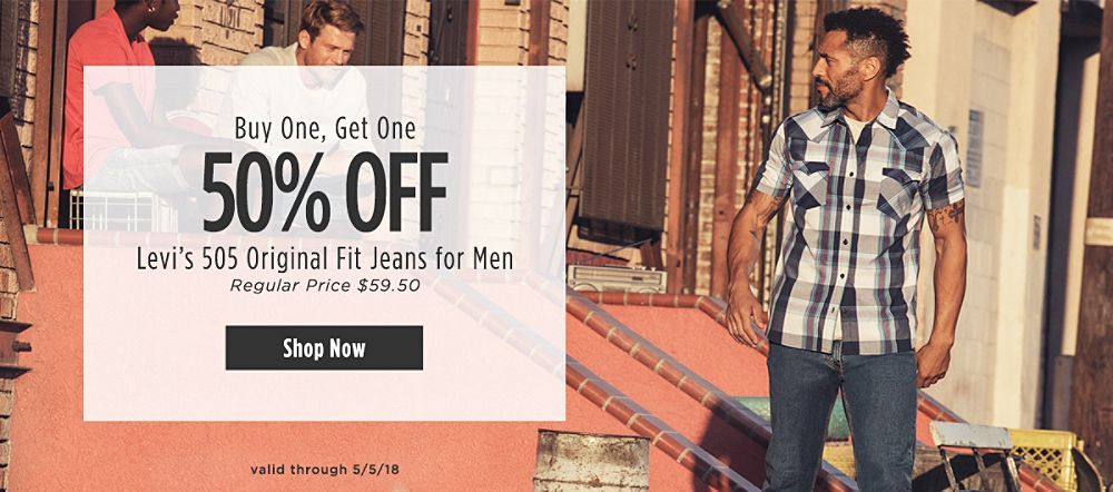 Buy One, Get One 50% off Levi's 505 Original Fit Jeans for Men. Regular Price $59.50. Valid through 5/5