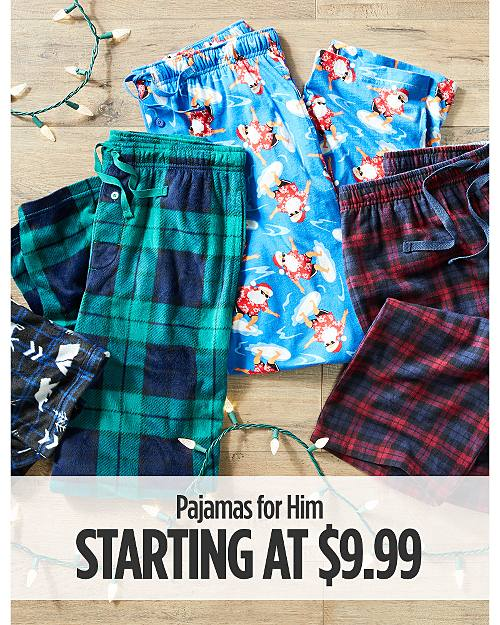 Pajamas For Him Starting at $9.99