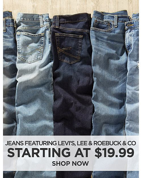 Jeans on Sale Starting at $19.99! Featuring Levis, Lee, and Roebuck & Co. Shop now