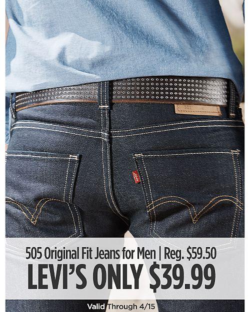 Levi's 505 Original Fit Jeans for Men on Sale. Regular Price $59.50. Valid through 4/15.
