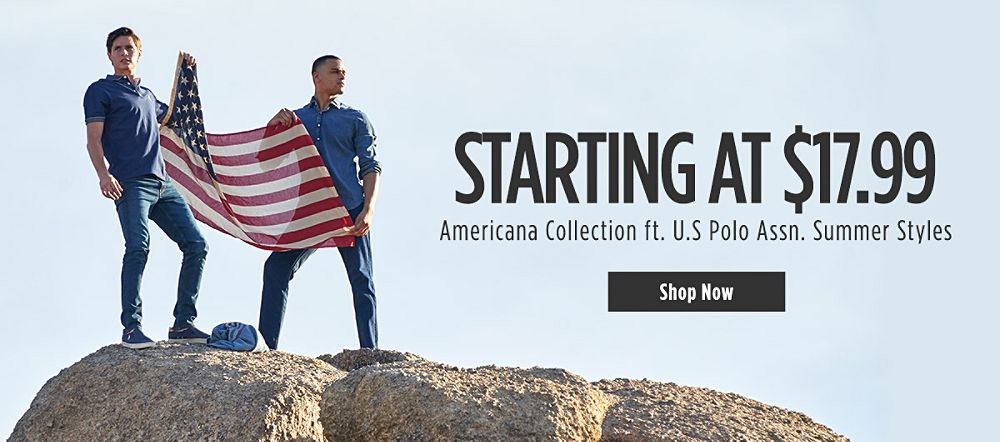 Americana Collection ft. U.S Polo Assn Summer Styles. Starting at $17.99