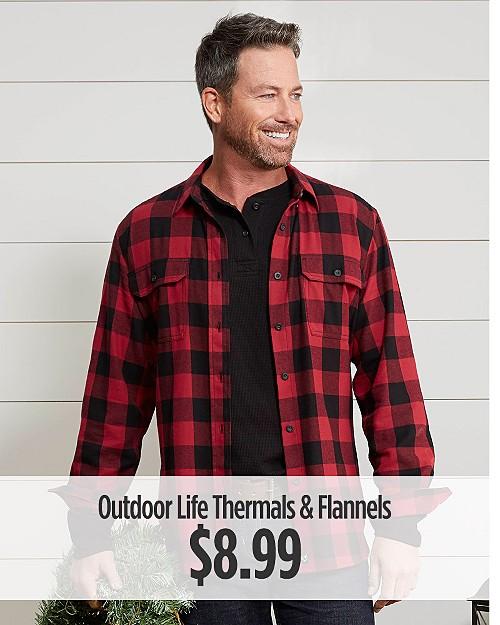 $8.99 Men's Outdoor Life Thermals & Flannels