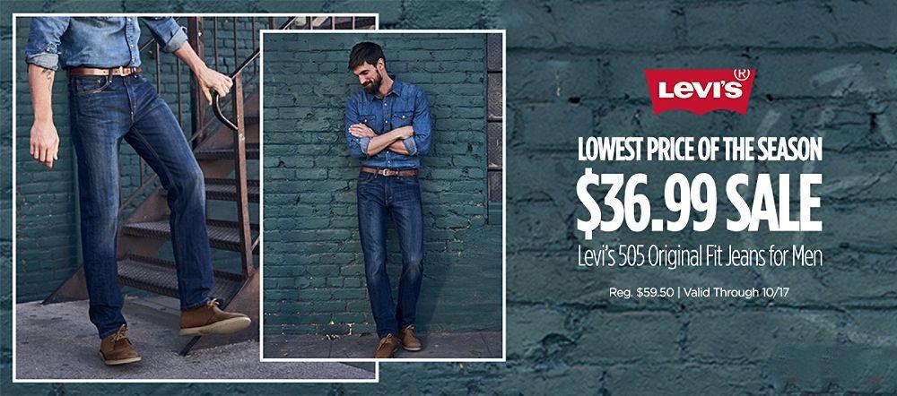 LEVIS ON SALE $36.99! Levi's 505 Regular fit jeans for men. Reg $59.50 (valid through 10/17)