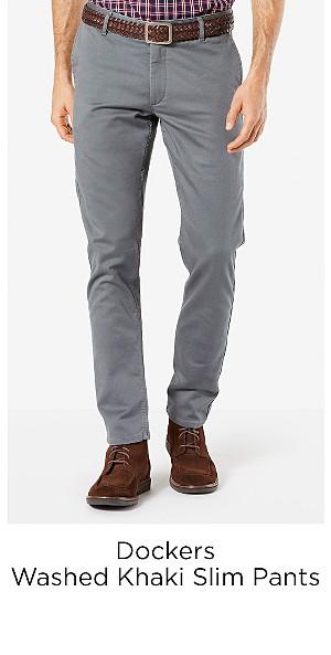 Dockers Men's Washed Khaki Slim Tapered Fit Pants