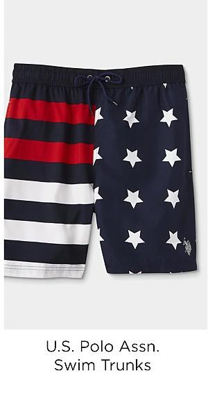 U.S. Polo Assn. Men's Swim Trunks - Stars & Stripes