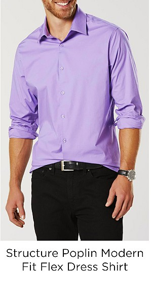 Structure Men's Poplin Modern Fit Flex Dress Shirt