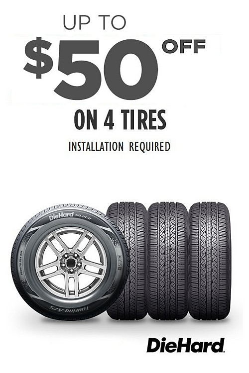 Up to $50 off 4 tires with purchase of installation