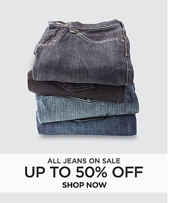 All jeans on sale up to 50% off