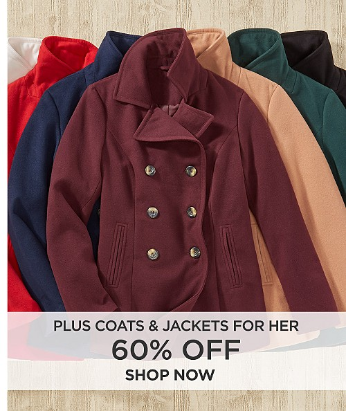 60% Off Plus Coats & Jackets for her. Shop now